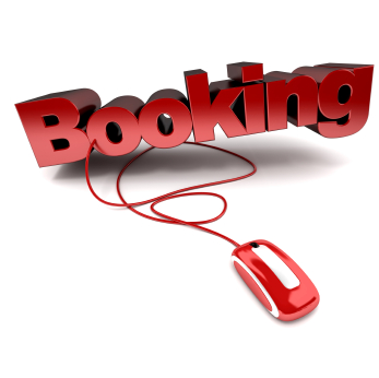 Red and white 3D illustration of the word booking connected to a computer mouse