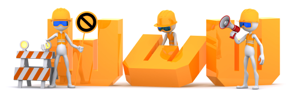 Group of workers building WWW text sign
